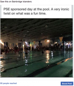 PSE, free swim, swim, aquatic center, outage, sponsored swim