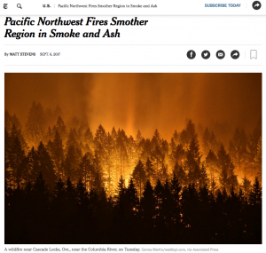 Screen grab of New York Times article about WA fires.