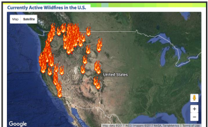 Fires in WA State - screen grab of Climate Central map.