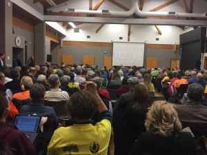 More than 250 people packed the Renton Community Center to comment before the UTC.