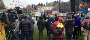 100s gathered outside of the Renton Community Center to hear speakers from Native American communities as well as Sierra Club, ReDefine Tacoma and others.