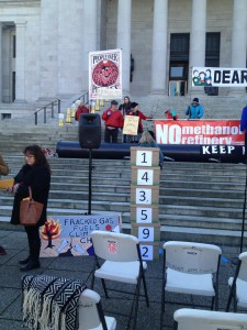 Boxes of signatures to stop Kalama methanol plant and Liquefied Natural Gas plant in Tacoma.